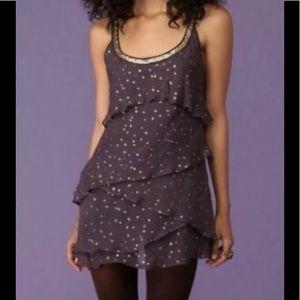 FREE PEOPLE SZ 0 Purple & Gold Tiered Silk Dress